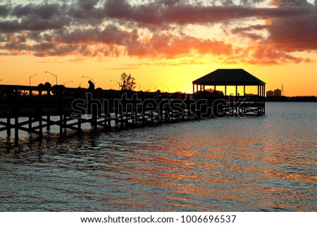 Indian River, FL pier at sunset