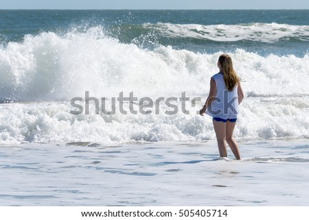 Indian River, Florida - October 16th 2016: Rough surf remains weeks after hurricane Matthew at Indian River Florida,  October, 16yh, 2016