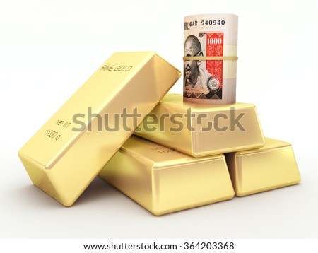 Indian rupee banknote roll and gold bars - stock photo