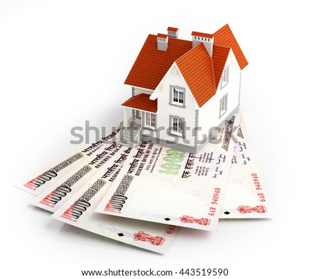 Indian rupee banknotes under house. 3d rendering. - stock photo