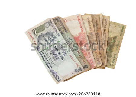 Indian rupees isolated on white