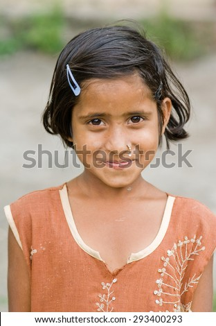 Indian rural girl closeup Salunkwadi, Ambajaogai, Beed, Maharashtra, India, South East Asia