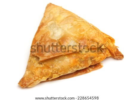Indian samosa filled with meat curry mixture. - stock photo