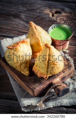 Indian samosa with vegetables and meat