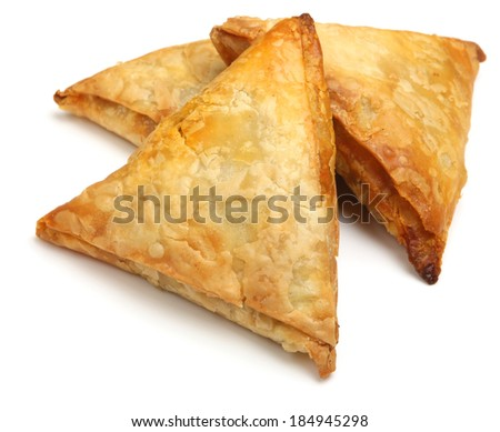 Indian samosas filled with lamb tikka curry mixture. - stock photo