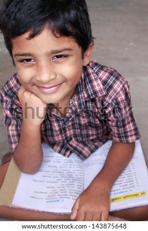 Indian School boy studying - stock photo