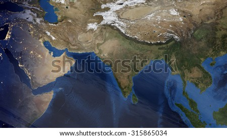 Indian Space View (Elements of this image furnished by NASA) - stock photo