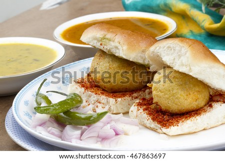 Indian special traditional fried food vada pav
