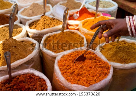Indian spices at flea market in India - stock photo