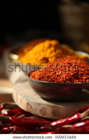 Indian spices/ Chili Flakes and Turmeric