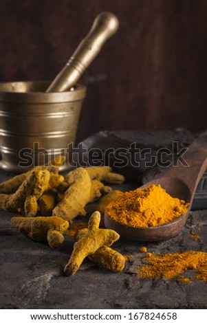 Indian spices/ Chili Flakes, Turmeric, Chili , Cardamom, Star Anise, Black Pepper - stock photo