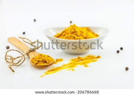 indian spices in terracotta pots, indian colourful spices, group of indian spices, group of spices,india and spices arranged in different size terracotta pots, turmeric on white background - stock photo