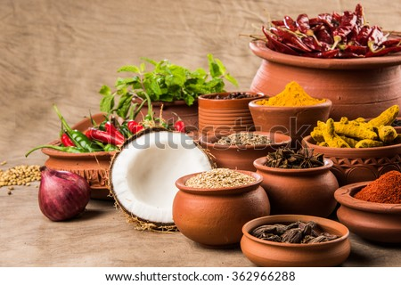 indian spices in terracotta pots, indian colourful spices, group of indian spices, group of spices, india and spices arranged in different size terracotta pots - stock photo