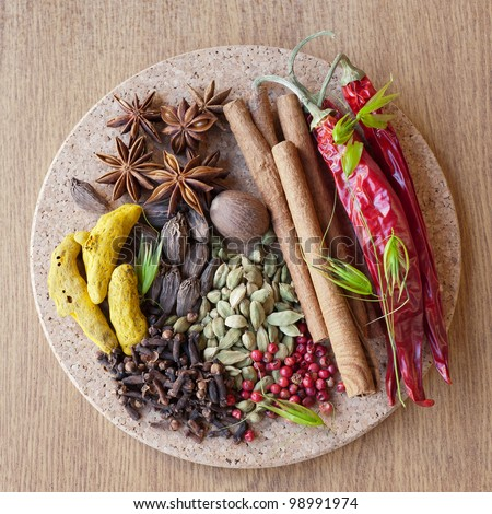 Indian spices: pepper, nutmeg, cinnamon, cloves, cardamom, turmeric, star anise - stock photo