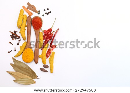 Indian Spices. Spice in Wooden spoon. Herbs. Curry, Saffron, turmeric, cinnamon and other isolated on a white background - stock photo