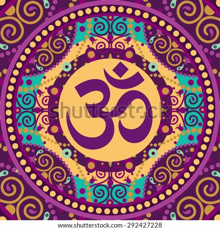 indian spiritual sign ohm - stock photo