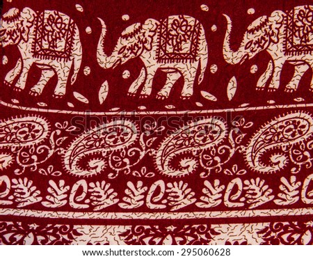 Indian style close up fabric. - stock photo