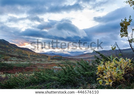 Indian Summer in the Mountains of Northern Sweden - stock photo