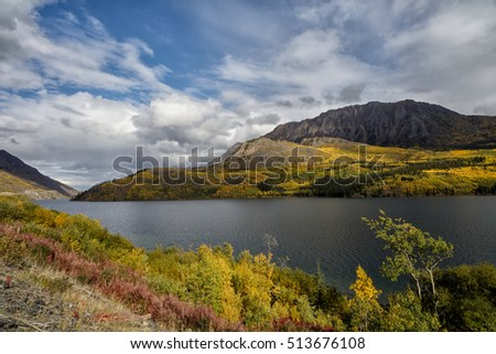 Indian summer landscape in the Yukon in Canada with thousands of colors along a lake at the Klondike Highway