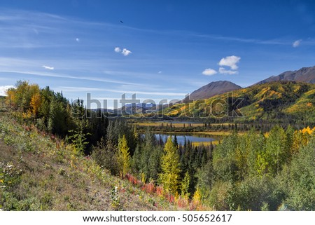 Indian summer landscape in the Yukon in Canada with thousands of colors from the Alaska Highway