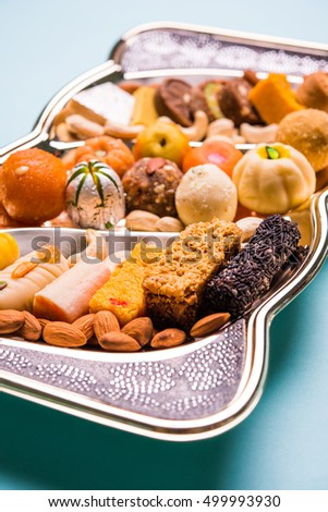 Indian Sweet Food or mithai in decorative plate
