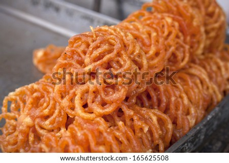 Indian sweets Jalebi  - stock photo
