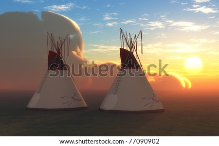 Indian Teepees at Sunset - stock photo