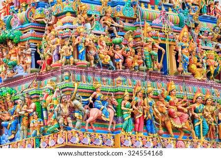 Indian temple located in Little India, Singapore - stock photo
