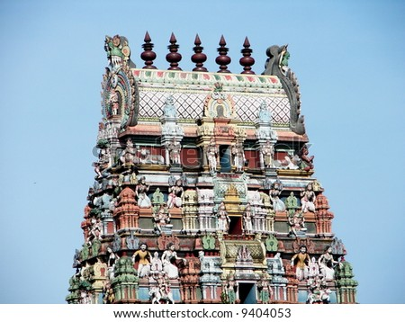 Indian temple roof's architecture