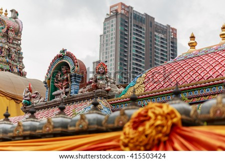 Indian Temple with Sculpture Decorated in the City