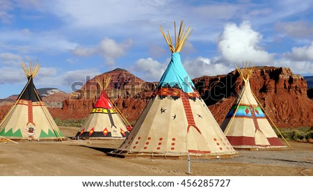 Indian tents decorated with ornaments. Near the city of Moab. Utah USA. & Teepee Stock Images Royalty-Free Images u0026 Vectors | Shutterstock