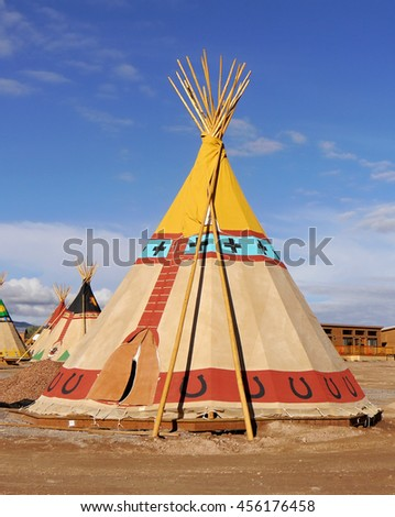 Indian tents decorated with ornaments. Utah, USA - stock photo