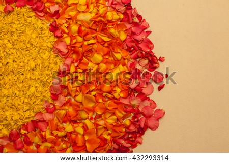 Indian traditional culture colorful garland from fresh orange flowers for holy religious ritual - stock photo