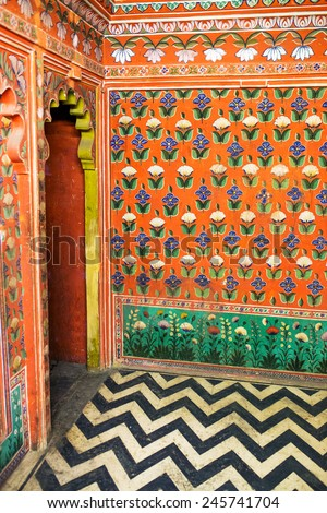 Indian traditional interior painting   - stock photo