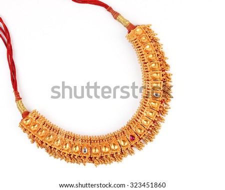 Indian Traditional Jewellery Necklace Isolated on White - stock photo