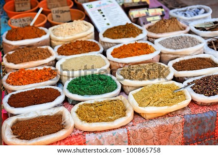 Indian traditional spices in the market - stock photo