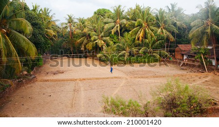 Indian village. View from train  - stock photo