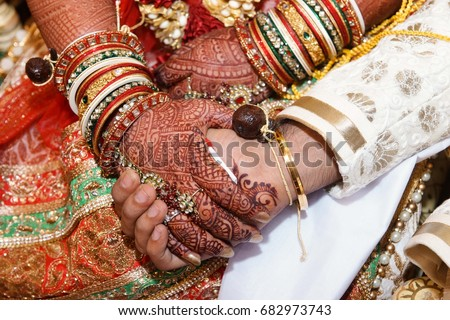 Mehndi Hands Couple : Indian wedding couple hand close stock photo download now