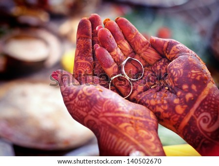 Indian wedding rituals with rings on hands - stock photo