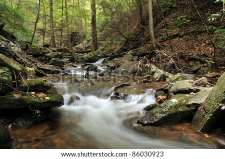Indian Well Falls in Shelton, Connecticut on a fall day - stock photo
