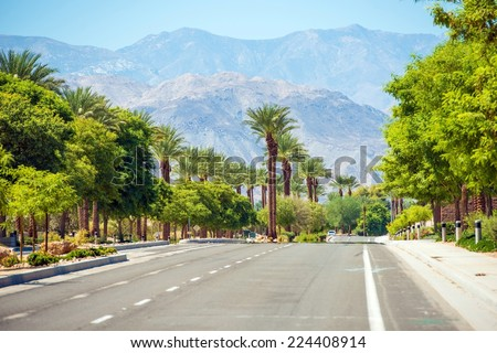 Indian Wells Street. Famous Indian Wells City in Southern California, USA. - stock photo