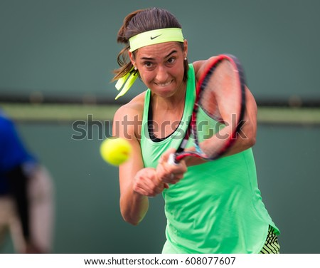 INDIAN WELLS, UNITED STATES - MARCH 10 : Caroline Garica at the 2017 BNP Paribas Open WTA Premier Mandatory tennis tournament