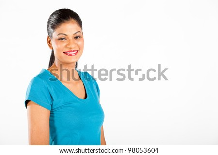 indian woman half length portrait on white background - stock photo
