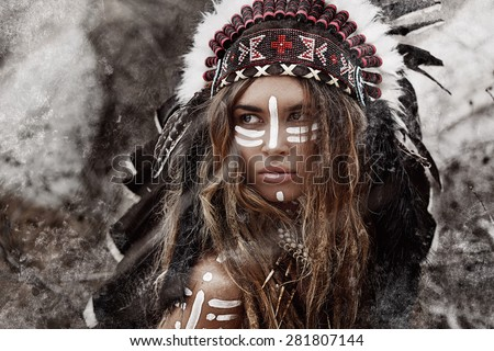 Indian woman hunter - stock photo