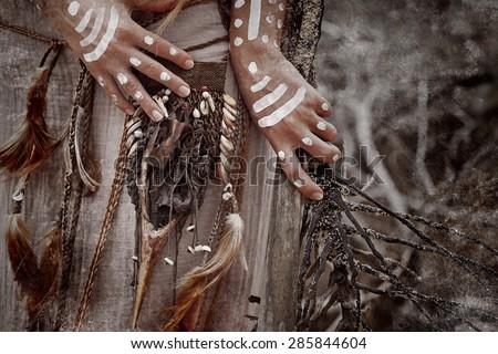 Indian woman hunter with magical artifact belt. Close up - stock photo
