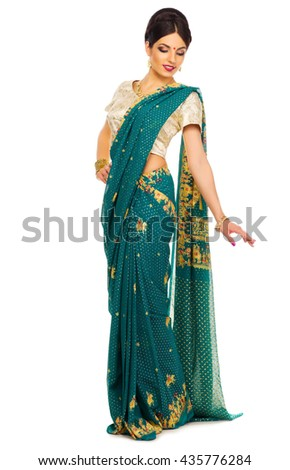 Indian woman isolated on white - stock photo