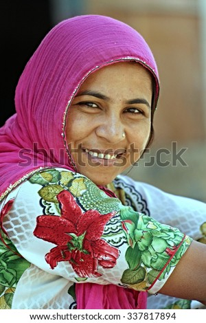 Indian woman on a street in Ahmedabad. Photographing November 1, 2015 in Ahmedabad India