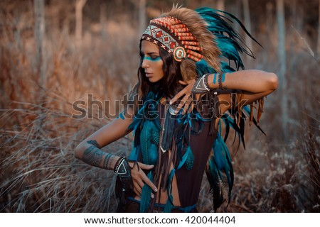 indian woman portrait outdoors. Background with free text space - stock photo