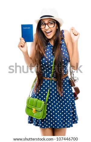 Indian woman tourist geek on white background - stock photo