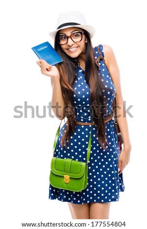 Indian woman tourist photographer hipster retro camera full length portrait - stock photo